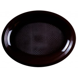 "Plastic Platter Microwavable Oval Shape Black ""Round"" 31,5x22 cm (25 Units)"