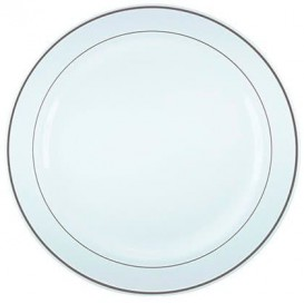 Plastic Plate Extra Rigid with Border Silver 26cm (20 Units)