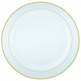 Plastic Plate Extra Rigid with Border Gold 15cm (20 Units)
