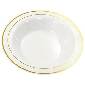 Plastic Plate Extra Rigid Deep with Border Gold 23cm (20 Units)