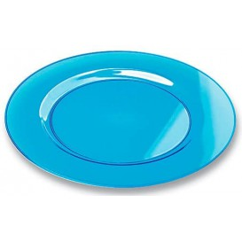 Plastic Plate Round shape Extra Rigid Turquoise 19cm (120 Units)