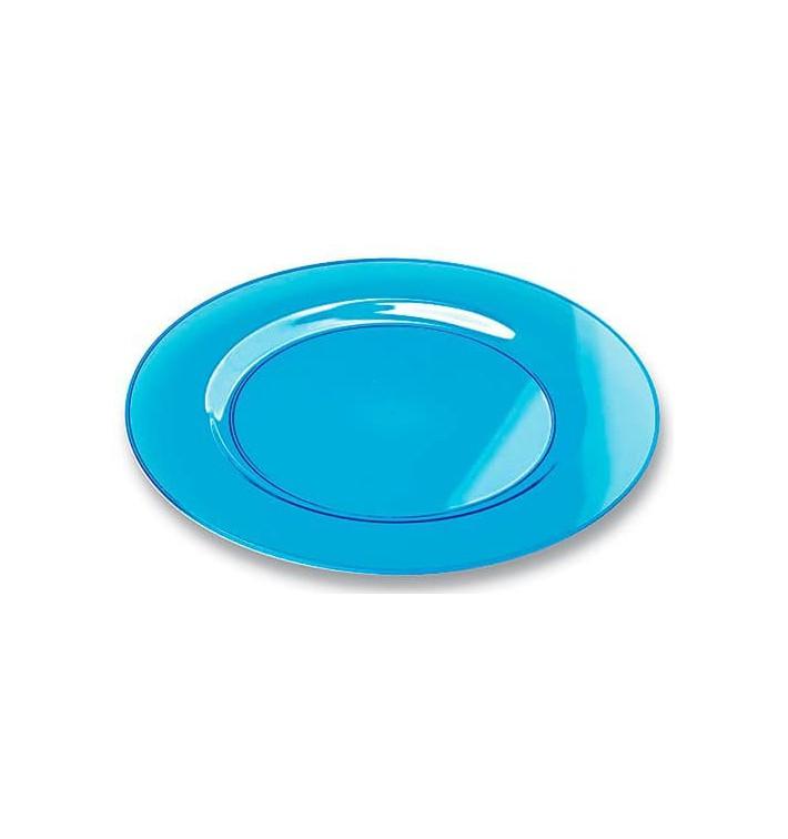 Plastic bord Rond vormig extra sterk turkoois 19cm (120 eenheden)