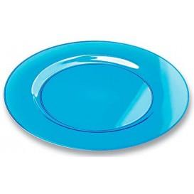 Plastic bord Rond vormig extra sterk turkoois 23cm (6 eenheden)