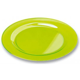 Plastic Plate Round shape Extra Rigid Green 23cm (6 Units)