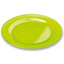 Plastic Plate Round shape Extra Rigid Green 26cm (6 Units)