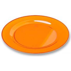 Plastic Plate Round shape Extra Rigid Orange 19cm (10 Units)