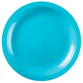 Plastic Plate Flat Turquoise Round shape PP Ø22 cm (50 Units)