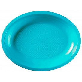 Plastic Tray Microwavable Oval Shape Turquoise 31,5x22 cm (25 Units)