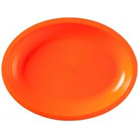 Plastic Platter Microwavable Oval Shape Orange 25,5x19 cm (50 Units)