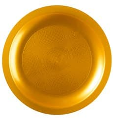 "Plastic Plate Flat Gold ""Round"" PP Ø18,5 cm (600 Units)"