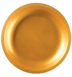 "Plastic Plate Flat Gold ""Round"" PP Ø22 cm (600 Units)"