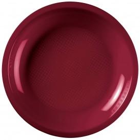 "Plastic Plate Flat Burgundy ""Round"" PP Ø22 cm (600 Units)"