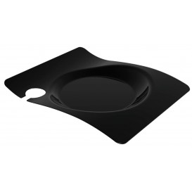 """Plastic Plate with Glass Holder PS """"Forma"""" Black 22x18 cm (12 Units)"""