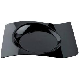"Plastic Plate ""Forma"" Black 28x23 cm (12 Units)"