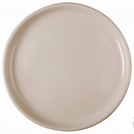"Plastic Plate for Pizza Beige ""Round"" PP Ø35 cm (12 Units)"