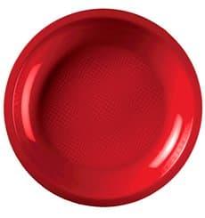 "Plastic Plate Flat Red ""Round"" PP Ø22 cm (50 Units)"