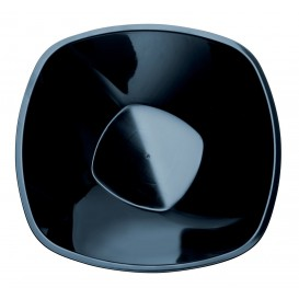 """Plastic Bowl PP """"Square"""" Black 1250ml Ø21cm (3 Units)"""