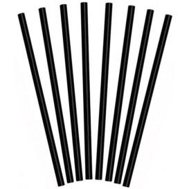 Plastic Straw for Frappé PS Straight Black Ø0,8cm 25cm (1000 Units)
