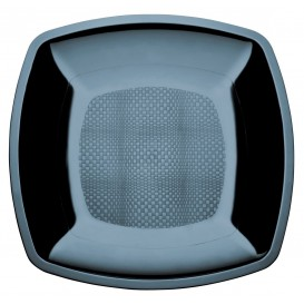 Plastic Plate Flat Black Square shape PS 18 cm (300 Units)