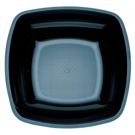 Plastic Plate Deep Black Square shape PS 18 cm (25 Units)