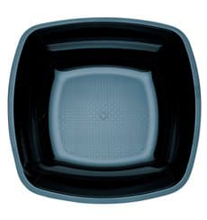Plastic Plate Deep Black Square shape PS 18 cm (300 Units)
