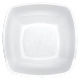 Plastic Plate Deep White Square shape PP 18 cm (25 Units)