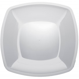 Plastic Plate Flat White Square shape PS 30 cm (12 Units)