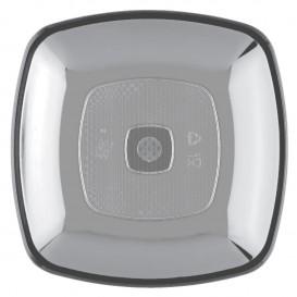 Plastic Plate Flat Clear Square shape PS 18 cm (25 Units)