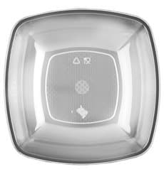 Plastic Plate Deep Clear Square shape PS 18 cm (300 Units)