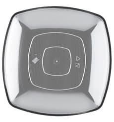 Plastic Plate Flat Clear Square shape PS 23 cm (25 Units)