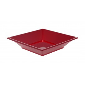 Plastic Plate Deep Square shape Burgundy 17 cm (6 Units)