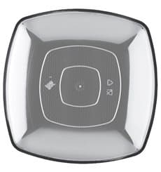 Plastic Plate Flat Clear Square shape PS 30 cm (12 Units)