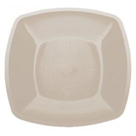 Plastic Plate Flat Beige Square shape PP 18 cm (300 Units)