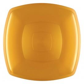 Plastic Plate Flat Gold Square shape PS 30 cm (12 Units)