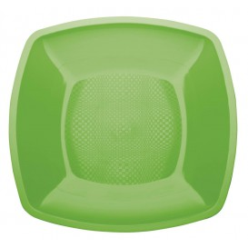 Plastic Plate Flat Lime Green Square shape PP 18 cm (25 Units)