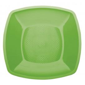 Plastic Plate Flat Lime Green Square shape PP 23 cm (25 Units)