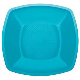 Plastic Plate Flat Turquoise Square shape PP 23 cm (25 Units)