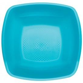 Plastic Plate Deep Turquoise Square shape PP 18 cm (25 Units)