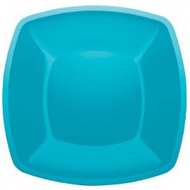 Plastic Plate Flat Turquoise Square shape PS 30 cm (12 Units)