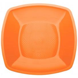 Plastic Plate Flat Orange Square shape PP 23 cm (25 Units)