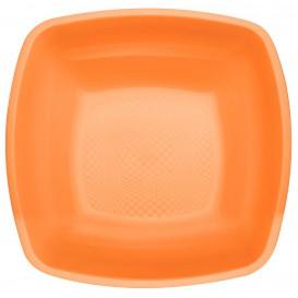 Plastic Plate Deep Orange Square shape PP 18 cm (25 Units)