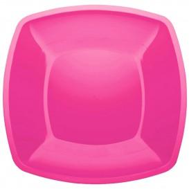Plastic Plate Flat Fuchsia Square shape PS 30 cm (12 Units)