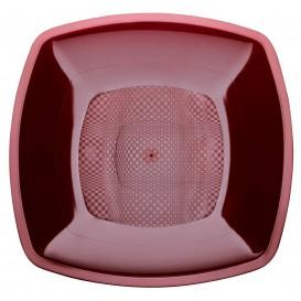 Plastic Plate Flat Burgundy Square shape PP 18 cm (300 Units)