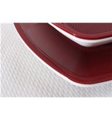 Plastic Plate Deep Burgundy Square shape PP 18 cm (25 Units)