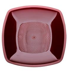 Plastic Plate Deep Burgundy Square shape PP 18 cm (300 Units)