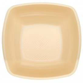 Plastic Plate Deep Cream Square shape PP 18 cm (25 Units)