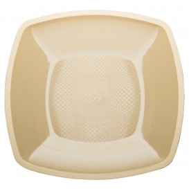 Plastic Plate Flat Cream Square shape PP 23 cm (25 Units)
