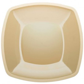 Plastic Plate Flat Cream Square shape PS 30 cm (144 Units)
