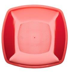 Plastic Plate Flat Red Square shape PS 18 cm (25 Units)