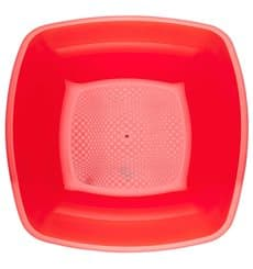 Plastic Plate Deep Red Square shape PS 18 cm